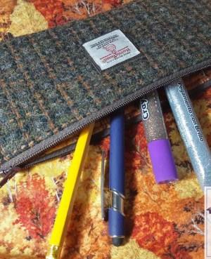 Harris Tweed pencil case: Autumn trees