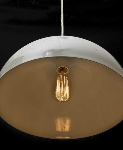 White Dome Pendant Light  Brushed Nickel  Edison Pendant