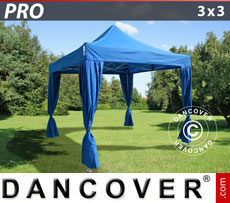 FleXtents Pop Up Marquees - Pop up gazebo FleXtents PRO 3x3 m Blue, incl. 4 decorative curtains