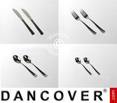 Plastic cutlery set, Silver-coloured