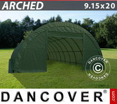 Storage Shelter 9.15x20x4.5 m, PVC 600 g/m², Green