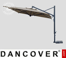 Cantilever parasol Galileo Dark, 3.5x3.5 m, Grey taupe