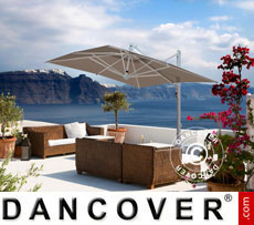 Cantilever parasol Galileo White, 3x3 m, Grey taupe