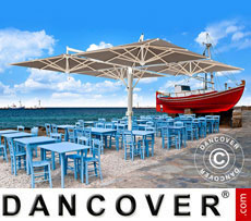Cantilever parasol Milano Poker, 4-double, 6x6 m, Grey taupe