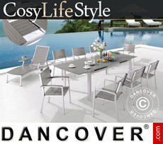Garden furniture set, CosyLifeStyle, 1 table & 6 chairs, Grey