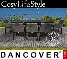 Dining set, Miami, 1 table + 8 chairs, Black/Grey