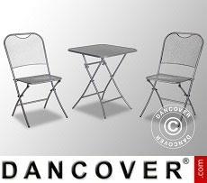 Café Set, Café Latte, 1 table + 2 Chairs, Iron Grey