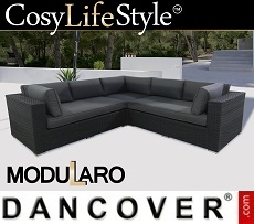 Poly rattan Lounge Sofa, 3 modules, Modularo, Black