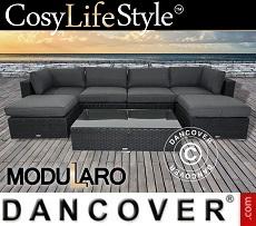 Poly rattan Lounge Set I, 7 modules, Modularo, Black