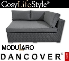 Poly rattan left arm section for Modularo, Grey