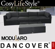 Poly rattan Lounge Set, 5 modules, Modularo, Black