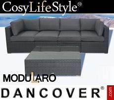 Poly rattan Lounge Set, 5 modules, Modularo, Grey