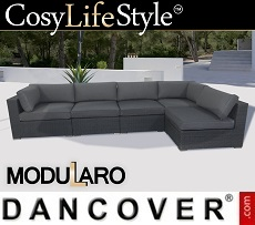 Poly rattan Lounge Sofa I, 5 modules, Modularo, Grey