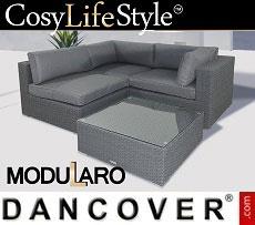Poly rattan Lounge Set I, 4 modules, Modularo, Grey