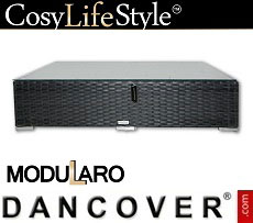 Poly rattan side table for Modularo, Retangular, Black
