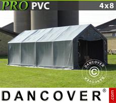 Storage shelter PRO 4x8x2x3.1 m, PVC, Grey