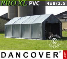 Storage shelter PRO 4x8x2.5x3.6 m, PVC, Grey