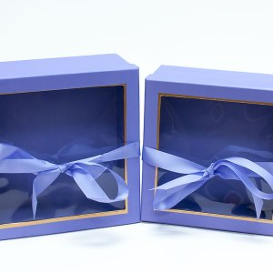 W9570 Purple Square Flower Boxes With Window and Ribbon Set of 2