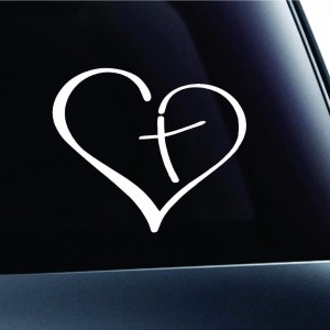 Heart with Cross decal