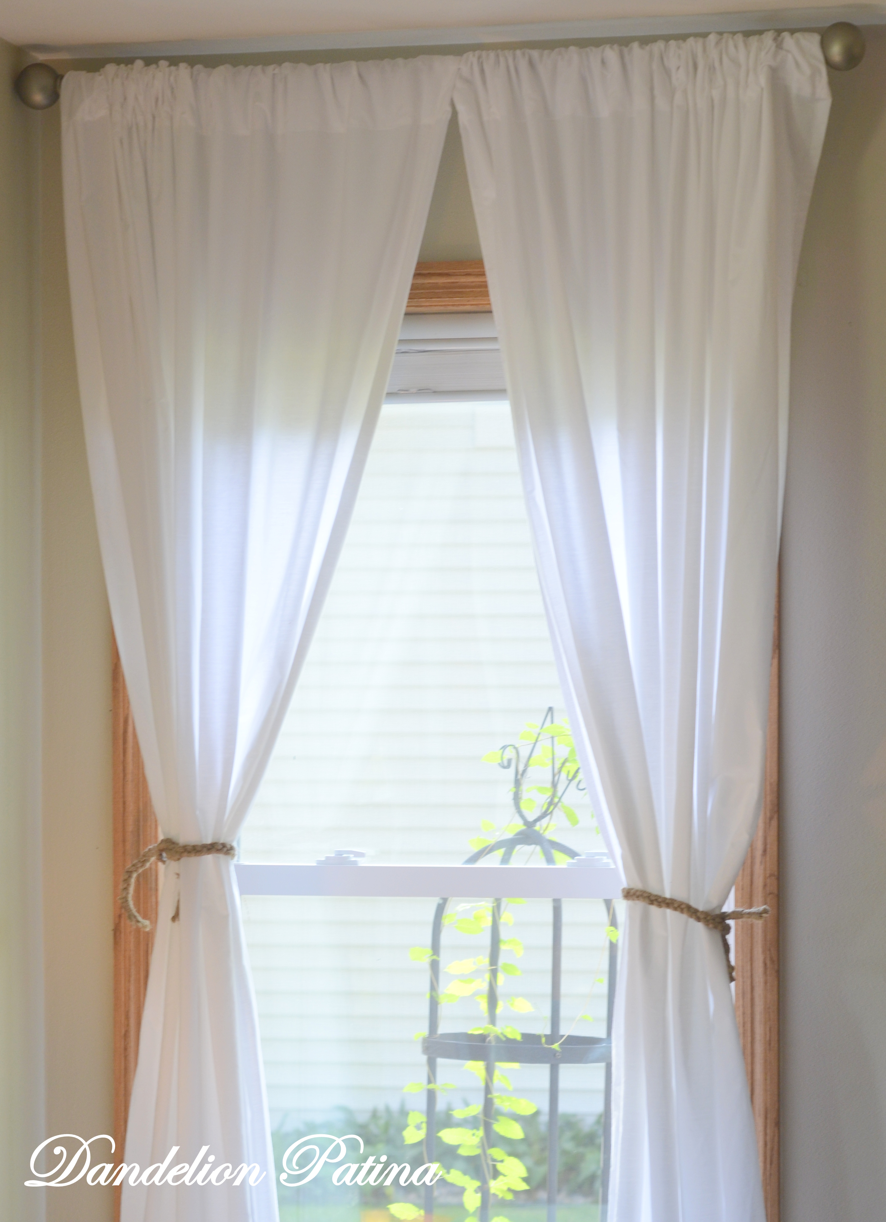 DIY Simple White Sheet Curtains  Dandelion Patina
