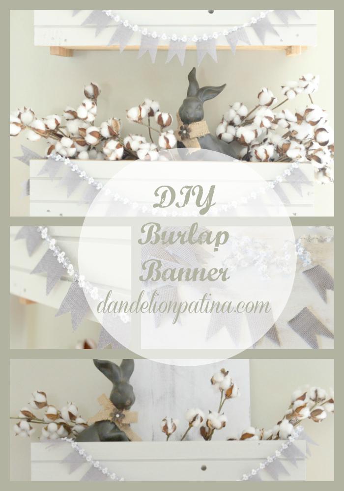 burlap banner DIY vignette