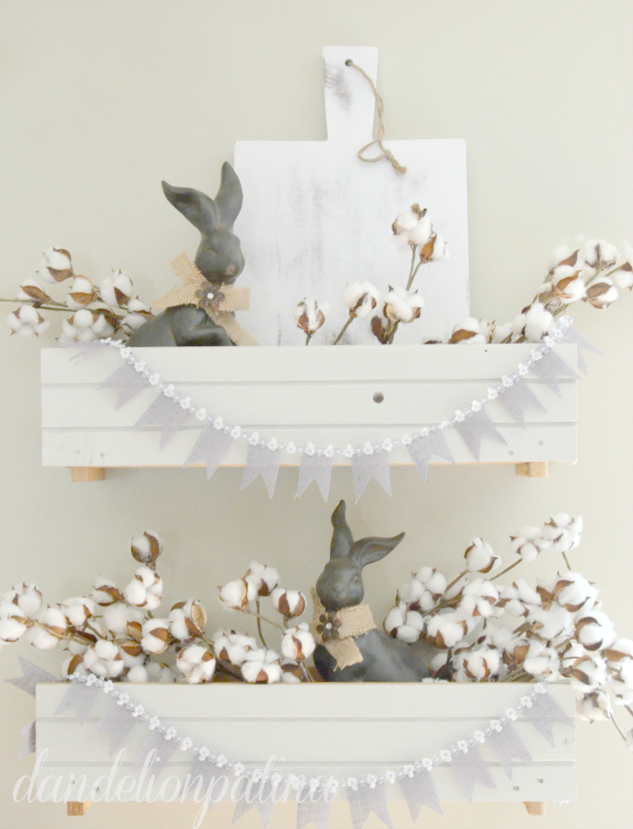 spring easter vignette with DIY burlap banner