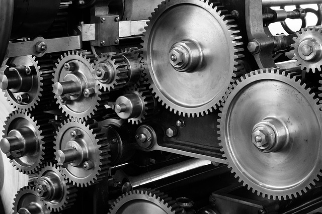 Gears and cogs in a machine
