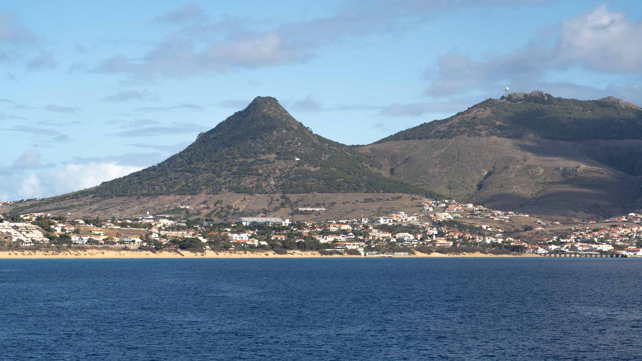 Porto Santo island, with various peaks, as seen from the ferry