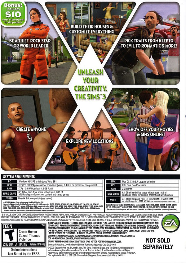 Sims 3 (Back)