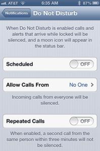 iPhone Do Not Disturb Setting Screen