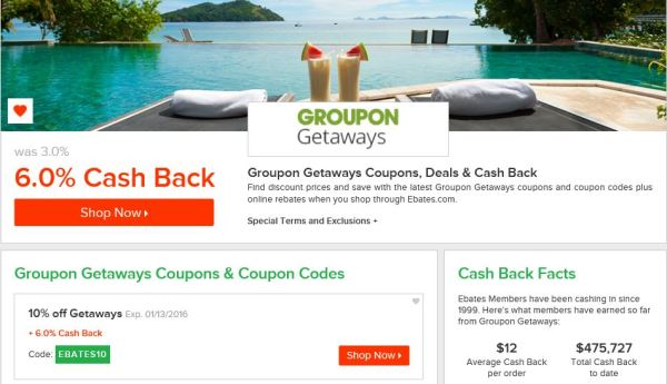 Groupon Deals on Ebates