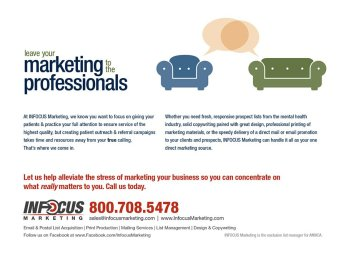 2011. INFOCUS Marketing had the opportunity to advertise with the American Mental Health Counselors Association. I was tasked as part of the marketing department with writing the copy and designing the flier targeting members of AMHCA who need marketing services.