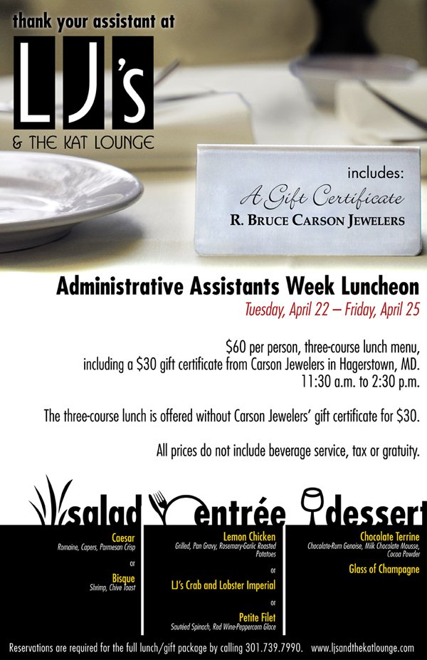 2008. As an intern at Icon Graphics, I created this poster for a local restaurant's celebration of Administrative Assistants Week.