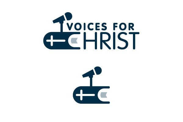 "2010. The web developer behind the Voices for Christ website asked me to create a logo for the ministry, which focuses on making sermons, articles, and music from New Testament Assemblies available for the public. With this in mind, the final approved concept incorporates the microphone and the Bible (which forms the ""C"" of Christ) to visually encapsulate the purpose of the ministry."