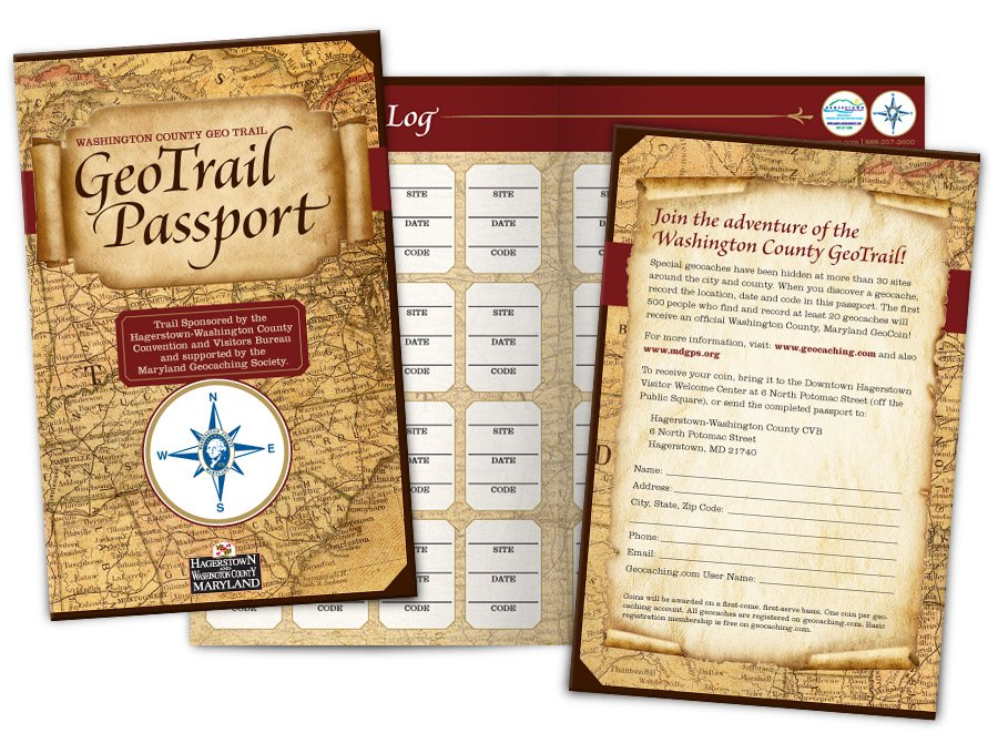 2013. The Hagerstown-Washington County Convention & Visitors Bureau asked the team at Icon Graphics to design the passport for their new GeoTrail. I went with a vintage explorer theme.