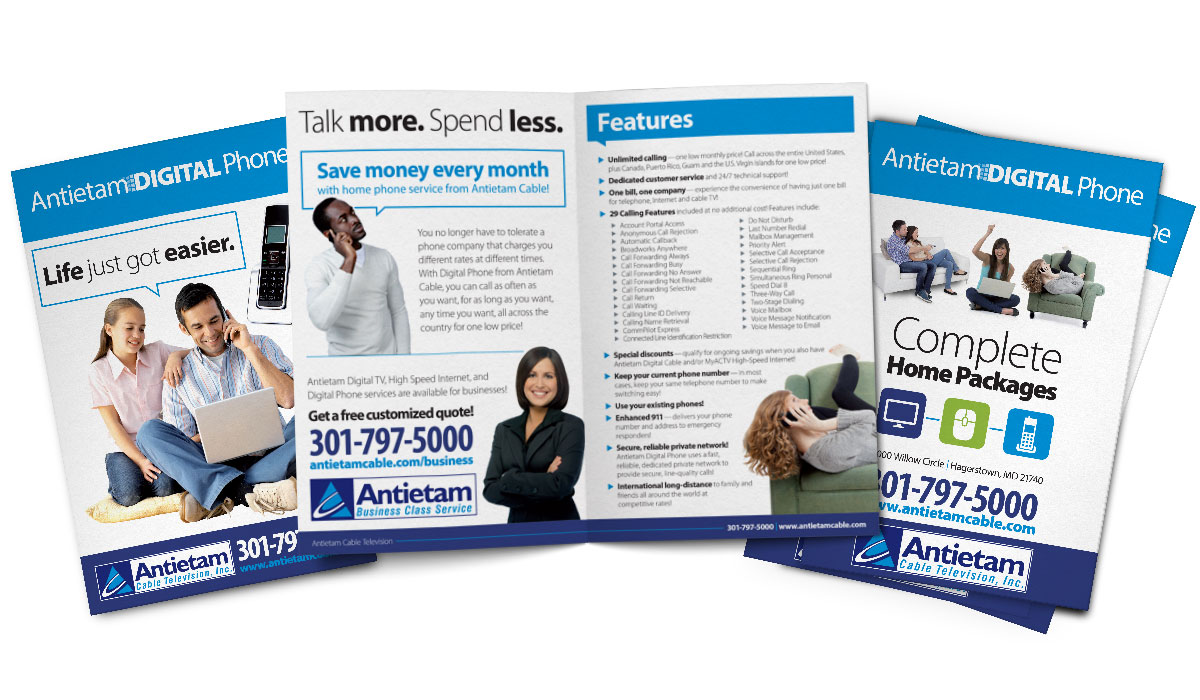Bifold brochure design for Antietam Cable's digital phone service, as part of the team at Icon Graphics.