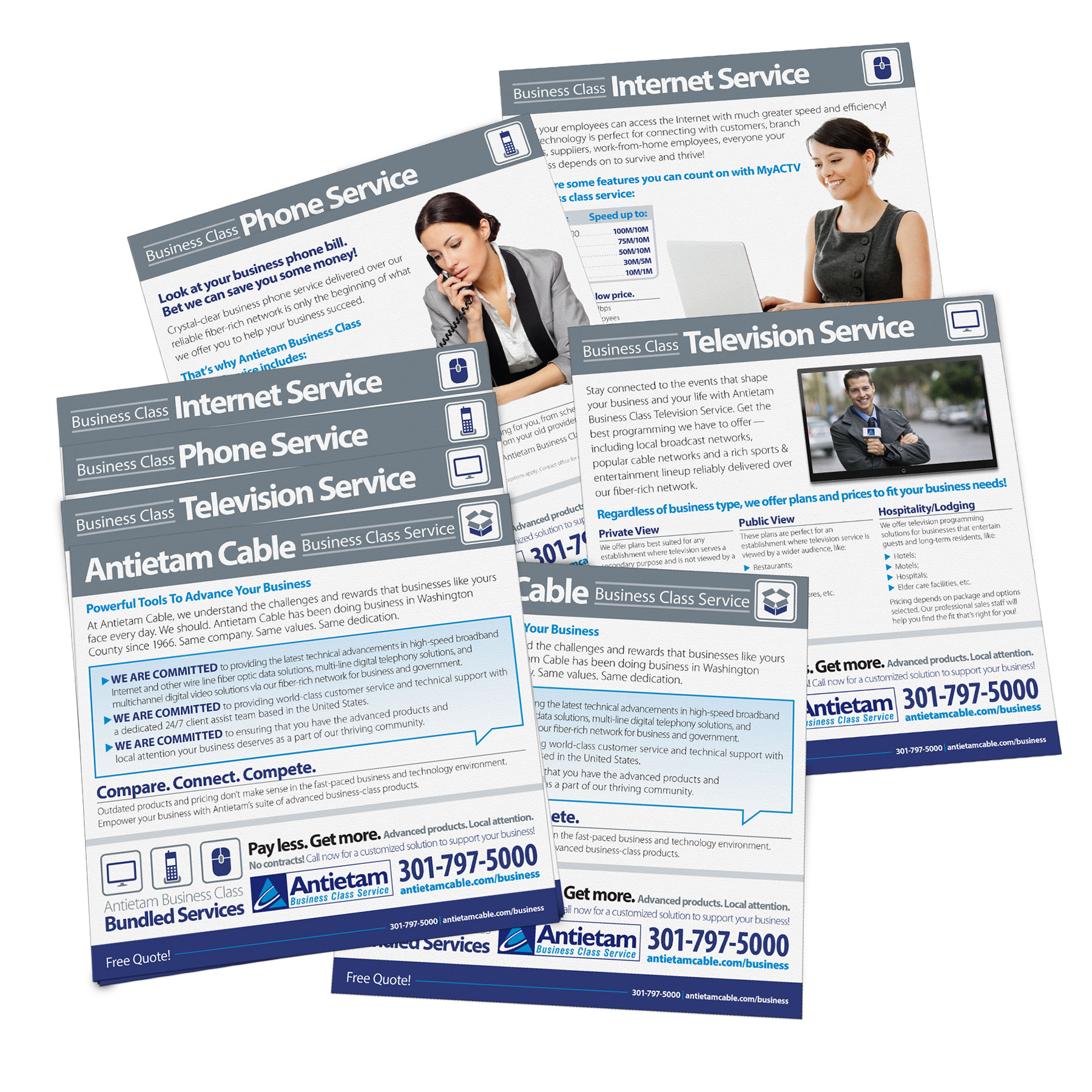Stepped sales sheet design for Antietam Cable's business class services, using the same design style established in their Home of the Future campaign. Designed as part of Icon Graphics.