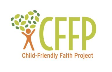Logo design for the Child-Friendly Faith Project. The logo has an icon of a gender-neutral figure with its arms raised, forming the trunk of a tree whose leaves form a heart shape. The colors are green and orange.