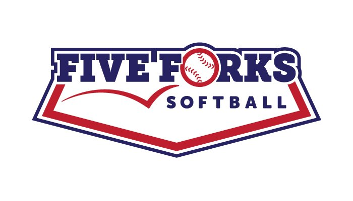 """Logo design for the Five Forks softball team. The name """"Five Forks"""" is set large in navy blue blocky slab-serif letters. The """"o"""" of """"forks"""" is a softball, bouncing into the logo from the left. """"Softball"""" appears under the word """"forks,"""" and the whole logo is part of a stylized home base."""