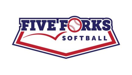 "Logo design for the Five Forks softball team. The name ""Five Forks"" is set large in navy blue blocky slab-serif letters. The ""o"" of ""forks"" is a softball, bouncing into the logo from the left. ""Softball"" appears under the word ""forks,"" and the whole logo is part of a stylized home base."