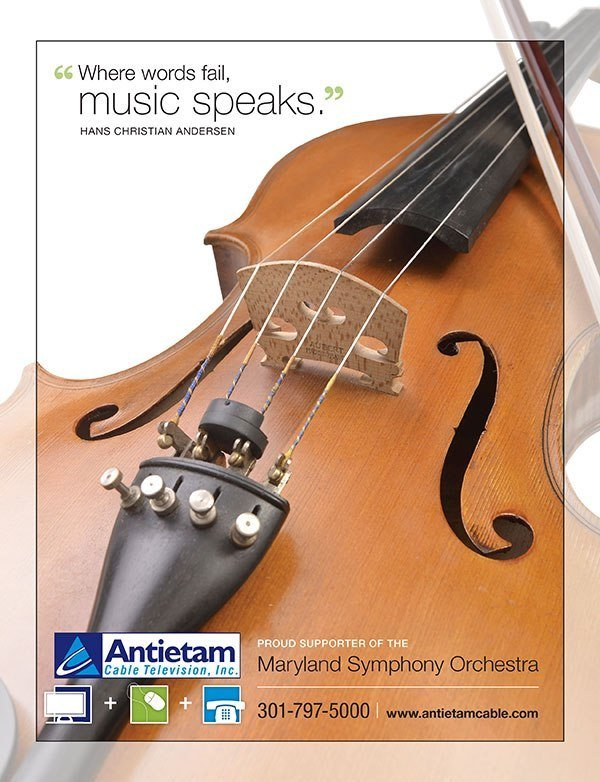 An advertisement featuring a cello, for Antietam Cable, inserted in the program for a Maryland Symphony Orchestra event.