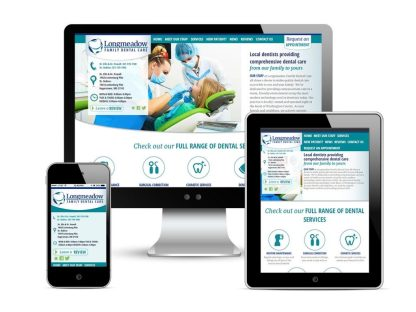 A web design for Longmeadow Family Dental Care, displayed on a desktop screen, a tablet, and a smart phone.
