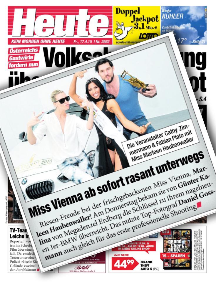 Marleen Haubenwaller  by Daniel Gossmann Günter Kalina Fabian Plato Cathy Zimmermann Miss Vienna Heute Tageszeitung 17.04