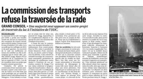La commission de transports refuse la traversée de la rade