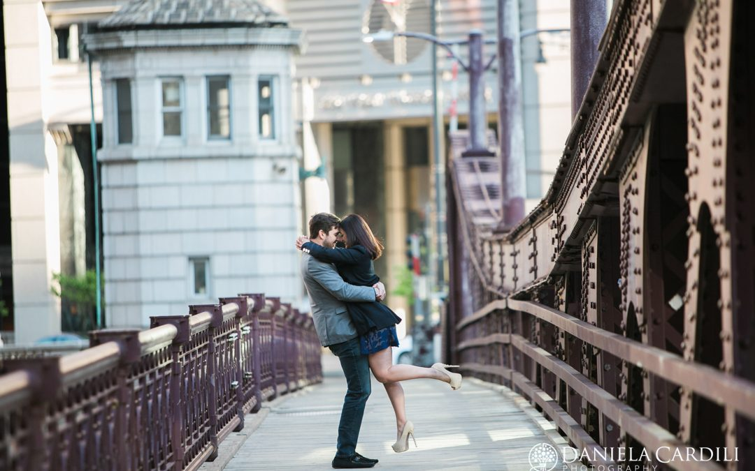 Chicago Theater Engagement Photography Session – Tania + Sean
