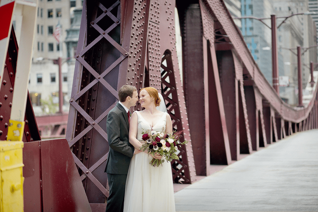 Chicago wedding, Lasalle bridge