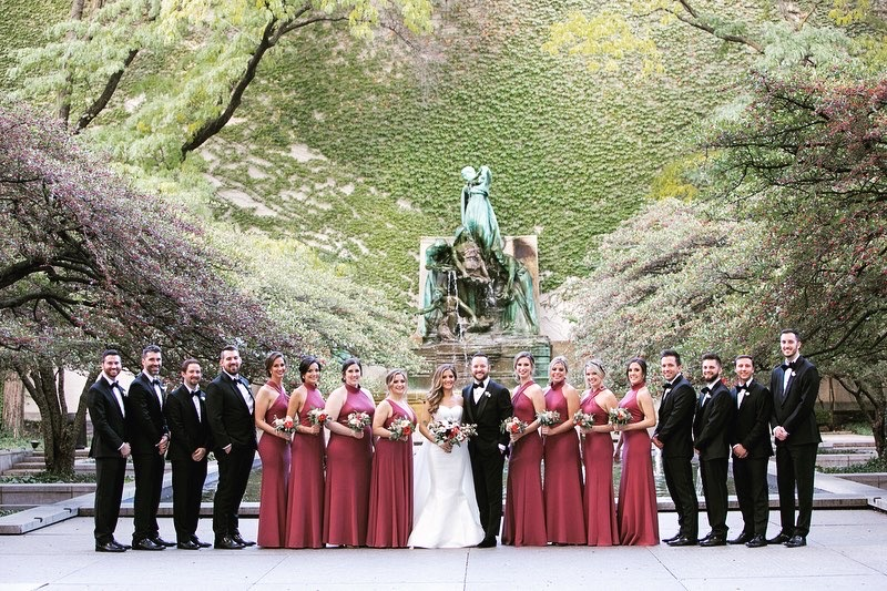 Bridal Party at the South Gardens at the Art Institute of Chicago