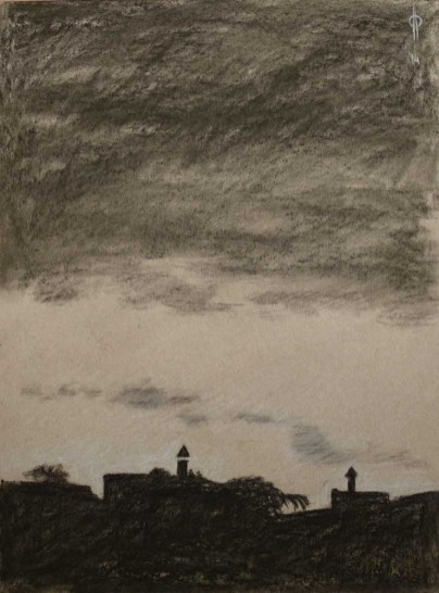 Sky 10 - charcoal and chalk on paper, 40x29.5 cm, 2014
