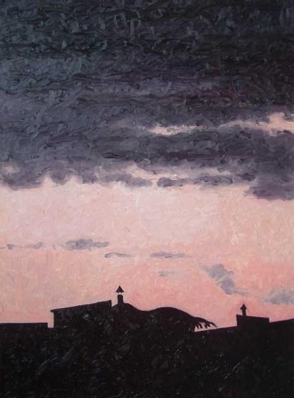 Contre-jour X - Heavy Clouds - oil on linen, 82x60 cm, 2009