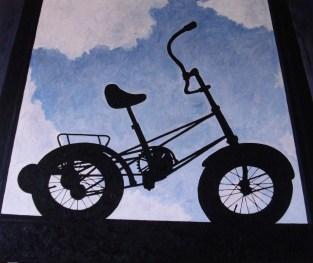 Contre-jour XVI (Black Bike) - oil on linen, 100x120 cm, 2010